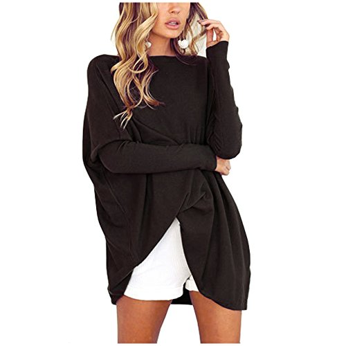 YS.DAMAI Women's O Neck Casual Long Batwing Sleeve Blouse Oversized Loose T-Shirt Pullover - Oversized Black Top