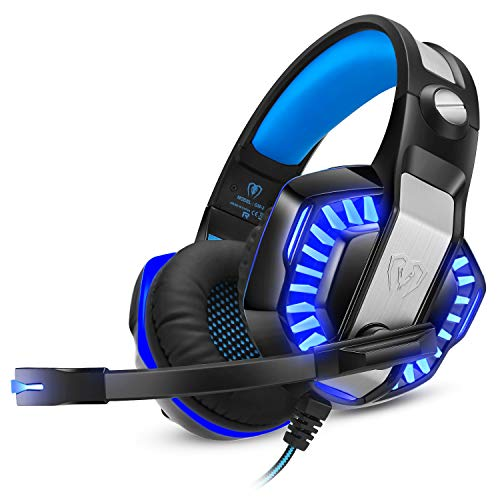 WINTORY GM20 Gaming Headset Headphones with Mic Noise Cancelling Over Ear LED Light Bass Stereo Sound Compatible for Xbox One PS4 PC Laptop Tablet (Blue)