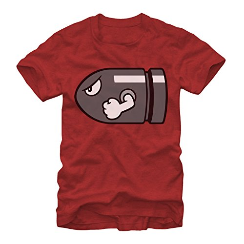 Nintendo Men's Mario Bullet Bill Red Heather T-Shirt