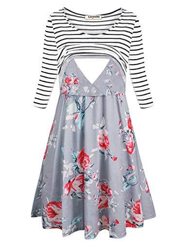 Larenba Maternity Dress for Women, Juniors Lightweight Flows Hem Trendy Pull up Basic Nursing Dresses for Feeding Baby Breathe Soft Cozy Classy Postpartum Outfit(Grey,Medium)