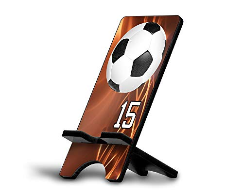 Cell Phone Stand Soccer Ball #SC029 Personalized Player Jersey Number On A Universal Docking Charging Station Stand Customized by TYD Designs Number 15 ()