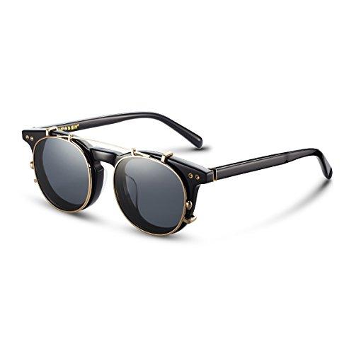 Sport Clip on Lunettes de soleil polarisées Course à Pied rabattable à lentilles de lunettes de soleil UV400, Homme, Silver
