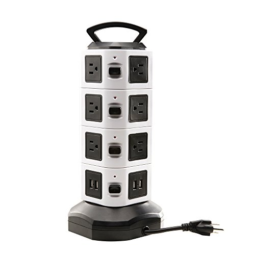 Power Strip Tower, Surge Protector Electric Charging Station 14 Outlet Plugs with 4 USB Slot 6.5ft Cord Wire Extension 2500W 13A 16AWG Universal Socket for PC Laptops Mobile Devices