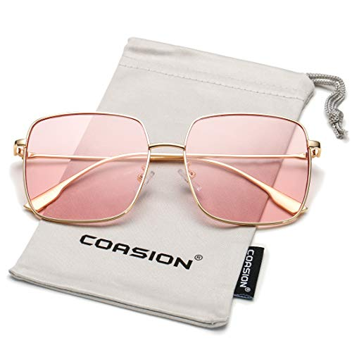 COASION Oversized Fashion Square Sunglasses for Women Designer Metal UV400 Sun Glasses (Gold Frame/Clear Pink Lens) (Fashion Square)