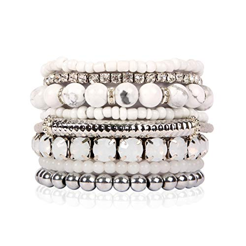 RIAH FASHION Multi Color Stretch Beaded Stackable Bracelets - Layering Bead Strand Statement Bangles (Natural Stone - White Howlite/Silver, 8) ()