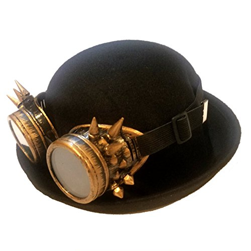 Deluxe Derby Adult Hat (Craftistics Deluxe Bowler Hat with Retro Industrial Goggles Costume Accessory)