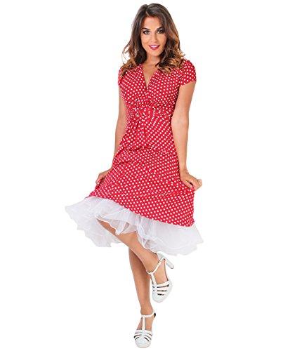 Robe Chic KRISP Femme A Casual pois Rouge Elgante Imprim Portefeuille 5x57r