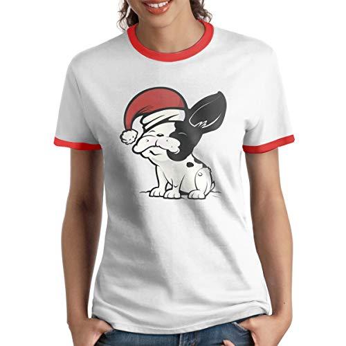 AeosJoy Women's Ringer T-Shirt Christmas, Ladies Tee Short Sleeves Teen Girls Jersey Shirt Red M