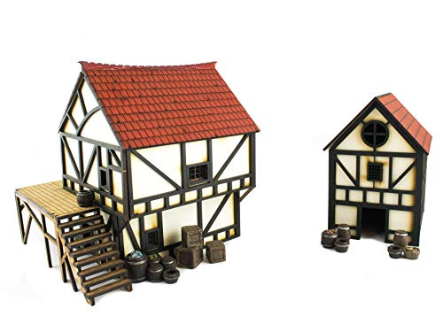 War World Gaming MedievalCottage and Townhouse Set (Painted / unpainted) with Resin Accessories-28mm/Heroic Fantasy WargamingTerrain