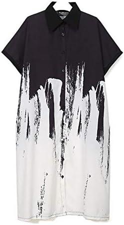 女性用ワンピースミディアム・ロングセクションラペルワンピース半袖ステッチゆるいシャツ気持ちの良いドレス(ホーム、パーティー、旅行、日付)