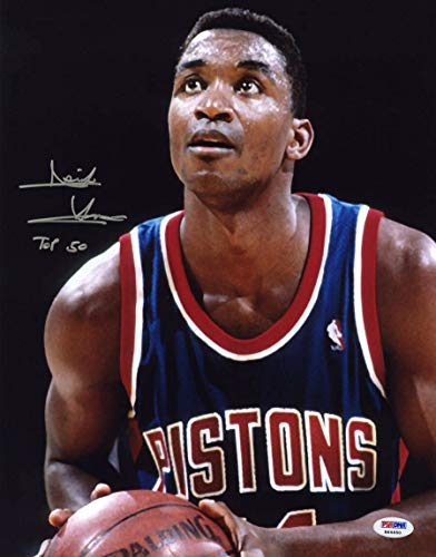 Isiah Thomas Autographed Signed 11x14 Photo + Top 50 Detroit Pistons PSA/DNA Autographed Signed Hof