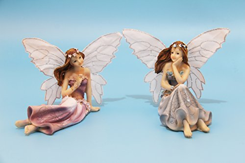 Fairy Garden Fairy Figurines - Garden Fairies - Sitting Girls Set of 2 pcs - Kit for Outdoor or House Decor, Hand Painted Resin Figurines, for Garden Indoor Decor Gift (Girl Sitting)