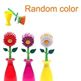 Wed2BB Flower Design Non-Scratching Nylon Dish Brush With Vase Holder - Random Color