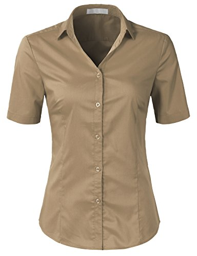 H2H Womens Slim Fit Formal Short Sleeve Button Down Dress Shirt Blouse Top Khaki (Cotton Tailored Uniform)