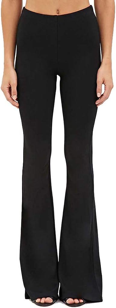Amazon Com Pantalones De Vestir Acampanados Para Mujer Cintura Alta Elasticos Pierna Ancha Clothing