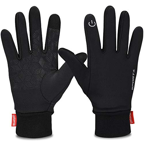 Yobenki Winter Gloves, Cycling Gloves Touch Screen Gloves Waterproof and Windproof Warm Gloves for Cycling Riding Running Skiing and Winter Outdoor Activities Men & Women (Black, L)
