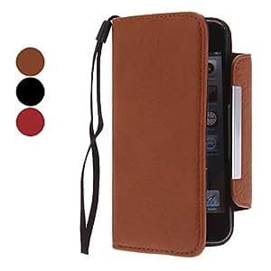 compra Funda de cuero genuino con la ranura para tarjeta y la carpeta para el iphone 5/5s (colores surtidos) , Rojo