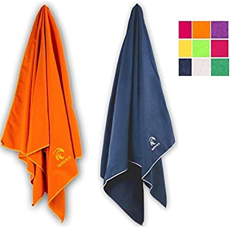 Compact Travel and Camping Towel Waves Gear Quick Drying Microfiber Beach Towel X-Large