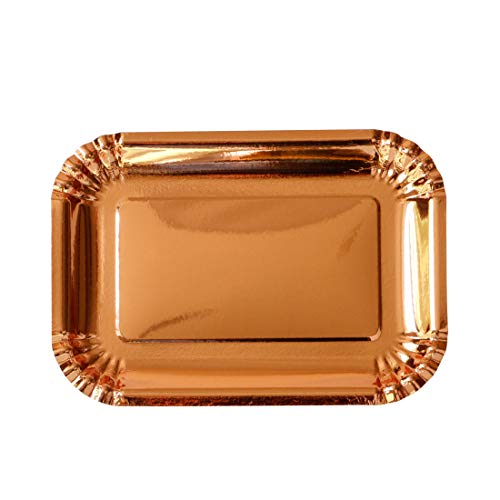 (Geeklife Rose Gold Paper Plates, Thickened Rectangular Disposable Paper Plates Set,20 Pcs Decorative Tableware Set,10.5 x 7.5 inch)