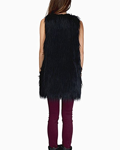 Fausse Cheveux Fourrure Gilet De Sans Manteau Manches Shaggy Noir Veste Femmes 1SBdqB