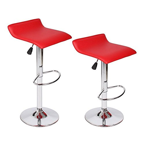 Homall Modern PU Leather Swivel Adjustable Barstools,Synthetic Leather Hydraulic Counter Stools(set of 2) (Modern Bar Leather Stool)