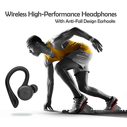 HolyHigh Wireless Headphones Bluetooth 5.0 Earphones Upgrade IPX7 Waterproof 26H Playtime with Charging Case in Ear Wireless Earbuds with Mic for Running Sports Gym for iPhone Android