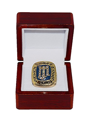 MINNESOTA TWINS (First Title) 1987 WORLD SERIES CHAMPIONS Vintage Rare & Collectible High-Quality Replica Baseball Gold Championship Ring with Cherrywood Display -