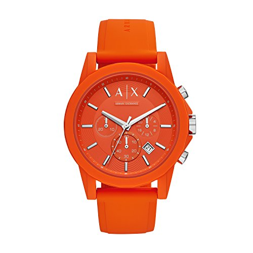 Armani Exchange Men's Quartz Stainless Steel and Silicone Casual Watch, Color:Orange (Model: AX1336)