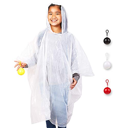 - 4 Pack Kids Disposable Ponchos with Ball - Disposable Raincoats for Boys and Girls - Childs Poncho, White