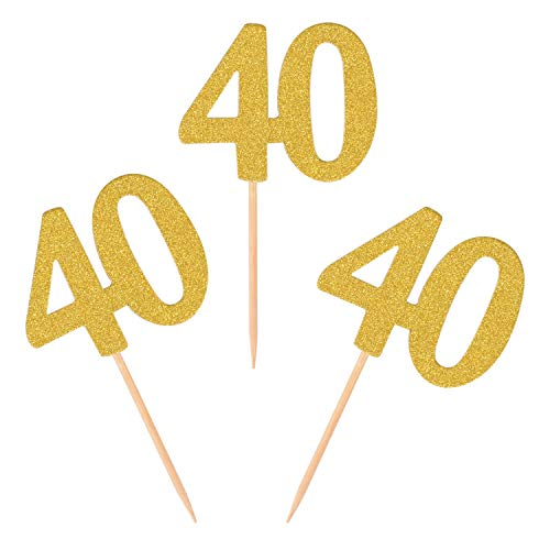 Donoter 50pcs 40th Cupcake Toppers Gold Glitter Number 40 Cake Picks for Birthday Anniversary Party Decoration ()