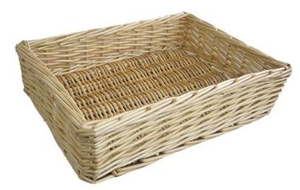 Straight Sided Shallow Rectangular Wicker Basket (Large (39 X 30 X 10cm))