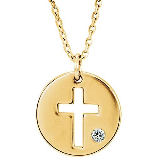14K Yellow Gold .03 CTW Diamond Pierced Cross Disk Pendant 18