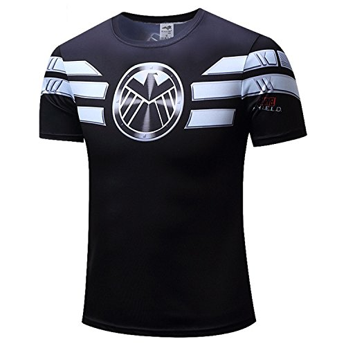 AmonKui New New Marvel Captain America 2 Gray Super Hero T Shirt Men Fitness Clothing Short Sleeves XS-4XL Picture Color 4XL