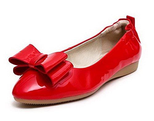 AllhqFashion Damen Rund Zehe Ziehen auf PU Leder Rein Niedriger Absatz Pumps Schuhe Rot