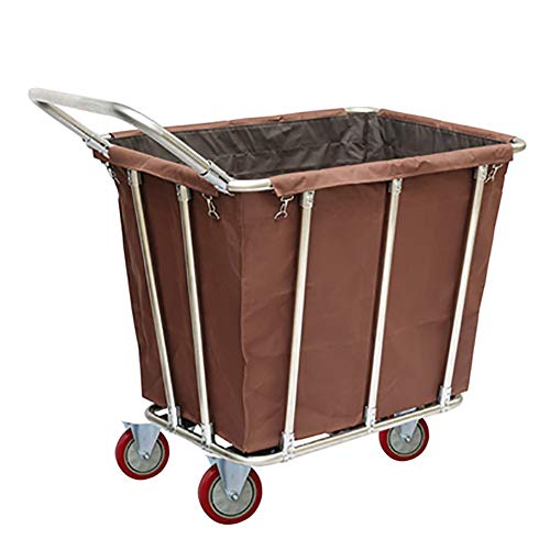 Utility Carts Heavy Duty Linen Car Laundry Hamper Sorter Cart, Housekeeping Industrial Trolley Rolling Silent Wheels (Color : with handrail)