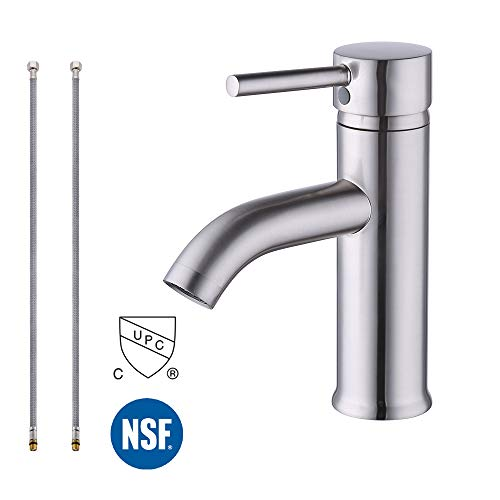- KES cUPC NSF Certified BRASS Modern Bathroom Sink Faucet Brushed Nickel Single Handle Wash Basin Faucet Lavatory Tap Lead-Free Brass, L3100ALF-BN