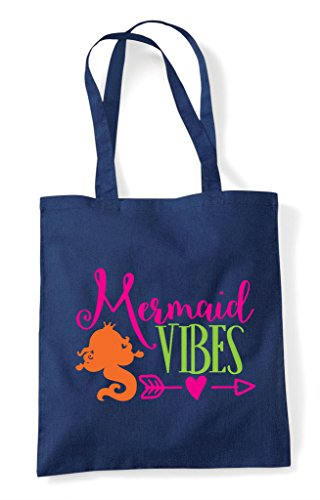 Tote Vibes Navy Mermaid Cute Statement Bag Shopper qPF7w0t