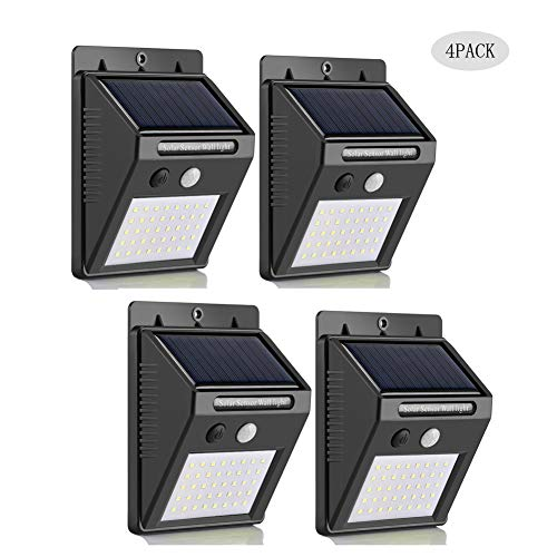 Solar Lights Outdoor 40LED,3 Optional Modes Super Bright Solar Lamps Wireless Motion Sensor Light, IP65 Waterproof, Easy-to-Install Security Lights for Front Door, Yard, Garage, Deck 4PACK