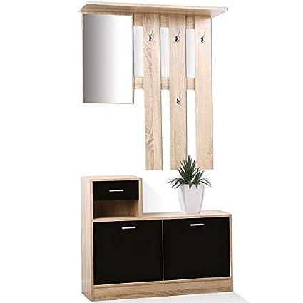 IDMarket - Vestidor de entrada con espejo (madera de haya ...