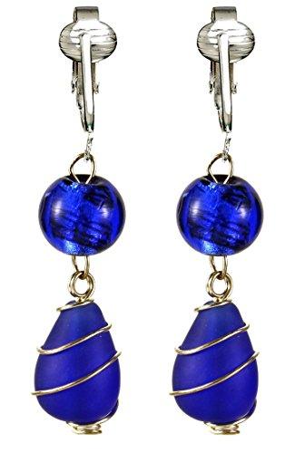 Jazzy, Funky Indigo Blue Glass Clip-on Earrings for Women, Girls- Hand Wire-wrapped Teardrop Swirl (Swirl Glass Bead Earrings)