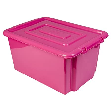 New Whitefurze Plastic Stackable Container Large Pink Storage Box
