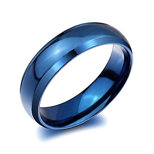 Rongxing Jewelry Fashion Band Smooth Blue Stainless Steel Rings Women's Wedding Size 6