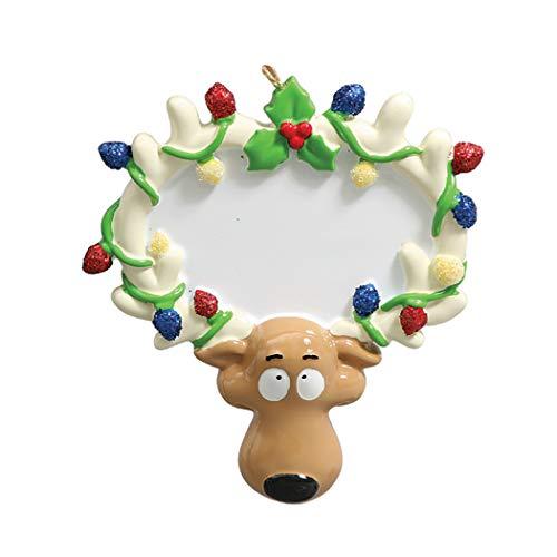 (Personalized Reindeer Lights Christmas Tree Ornament 2019 - Cute Fun Christ-Moose Santa Antler Sign Holiday Grand-Son Grand-Daughter Love Kid Friend Gift Deer - Free Customization)