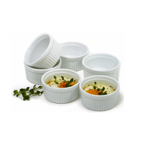 (Norpro 258 3oz/90ml Porcelain Ramekins, Set of 6, White)