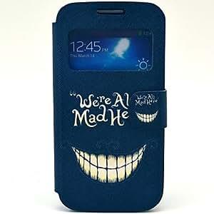 ZXM- El patrón de sonrisa malvada PU Abra la ventana Caso de cuero con la ranura de la tarjeta y soporte para Samsung Galaxy S4 mini-I9190