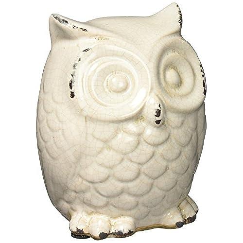 Koehler Home Decorative Tabletop Shelf Mantel Distressed White Ceramic Owl  Figurine By Quotech