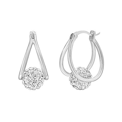 - Devin Rose Crystal Ball Hoop Earrings for Women Made with Swarovski Crystals in 925 Sterling Silver (Color Clear)