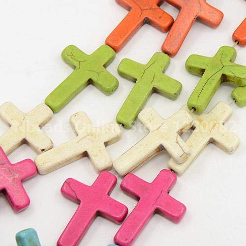 Calvas Natural Howlite Beads Strands, Cross Beads for Bracelet Design, Dyed, Mixed Color, 40x30x6mm, Hole: 1mm; 10pcs/Strand, 15.75