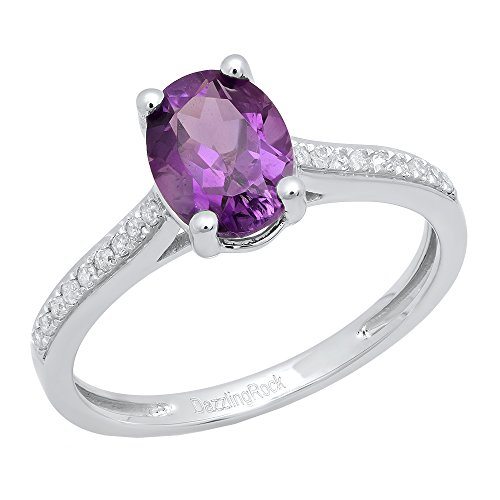 - Dazzlingrock Collection 10K 8X6 MM Oval Amethyst & Round White Diamond Ladies Halo Engagement Ring, White Gold, Size 5.5