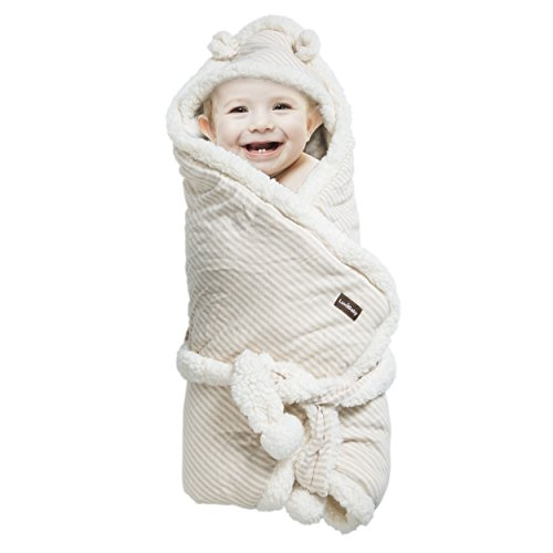 Baby Receiving Blanket - Organic Un-Dyed Cotton Swaddle Wrap Blanket - Embroidered Crib Pillow